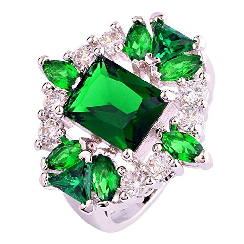 Anniversary Cluster (Psiroy Women's 925 Sterling Silver Created Emerald Quartz Filled Cluster Anniversary Ring)
