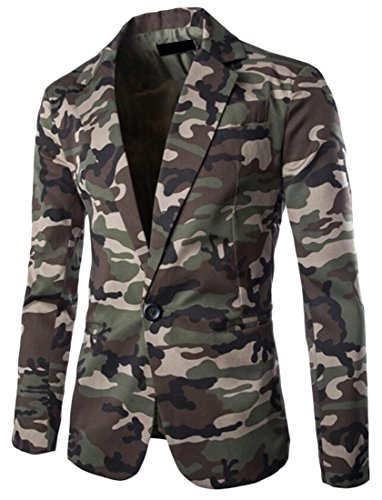 KLJR Mens Stylish Camouflage Long Sleeve One Button Blazer Jacket Army green US XL