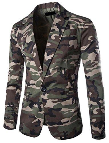 KLJR Mens Stylish Camouflage Long Sleeve One Button Blazer Jacket Army green US XL