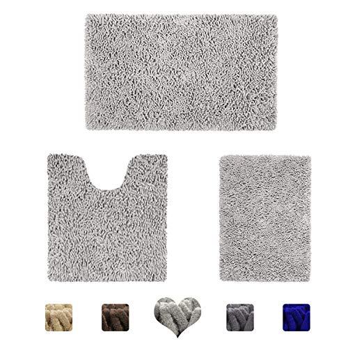 HOMEIDEAS 3 Pieces Bathroom Rugs Set Light Gray, Luxury Soft Chenille Bath Mats Set, Absorbent Shaggy Bath Rugs & Slip Resistant Plush Carpets Mats for Tub, Shower, Bathroom (Bathroom Set)