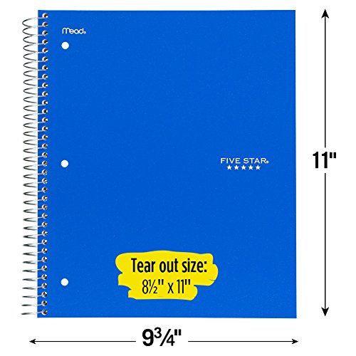 Five Star Spiral Notebooks, 1 Subject, Graph Ruled Paper, 100 Sheets, 11'' x 8-1/2'', Assorted Colors, 6 Pack (73549) by Five Star (Image #5)