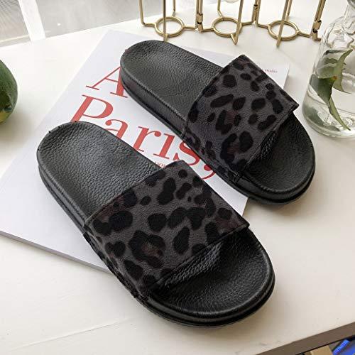Cewtolkar Women Shoes Leopard Slippers Outdoor Flip Flops Peep Toe Sandals Loafers Shoes Soft Slippers Beach Flip Flops Black by Cewtolkar (Image #3)
