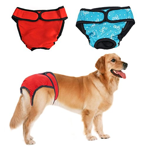 Dog Heat Diaper - Bwogue Premium Dog Diapers Female (Pack of 2) with Velcro Washable Reusable Sanitary Panties for Small to Large Dogs