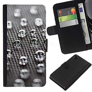 A-type (Gotas de agua) Colorida Impresión Funda Cuero Monedero Caja Bolsa Cubierta Caja Piel Card Slots Para Sony Xperia Z2 D6502