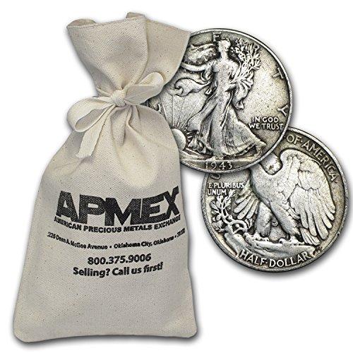 1916-1947 90% Silver Walking Liberty Half-Dollars $500 Face-Value Bag Half Dollar Very (Silver Half Dollars Value)