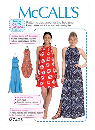 McCalls Ladies Easy Learn to Sew Sewing Pattern 7405 Gathered Neckline Dresses & Belt