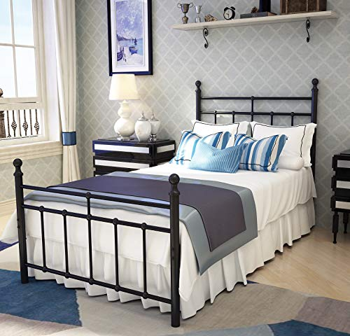 Metal Bed Frame Twin Size with Vintage Headboard and Footboard Platform Base Wrought Iron Twin Size Bed Frame Black