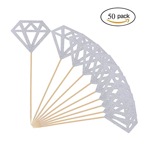 50 Pack Cupcake Toppers Silver Glitter Diamond for Cupcake Decor Bridal Shower Decoration by (Bridal Shower Cupcake Cake)