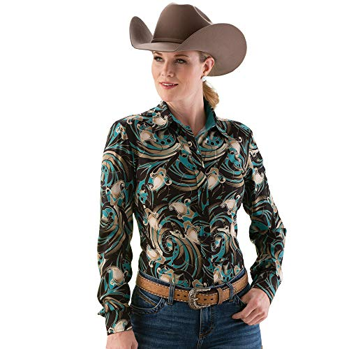 Rod's Western Paisley Print Show Blouse Small Gold for sale  Delivered anywhere in USA
