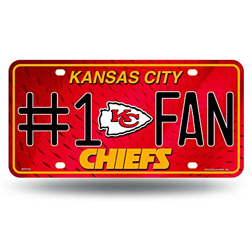 NFL Kansas City Chiefs #1 Fan Metal License Plate Tag