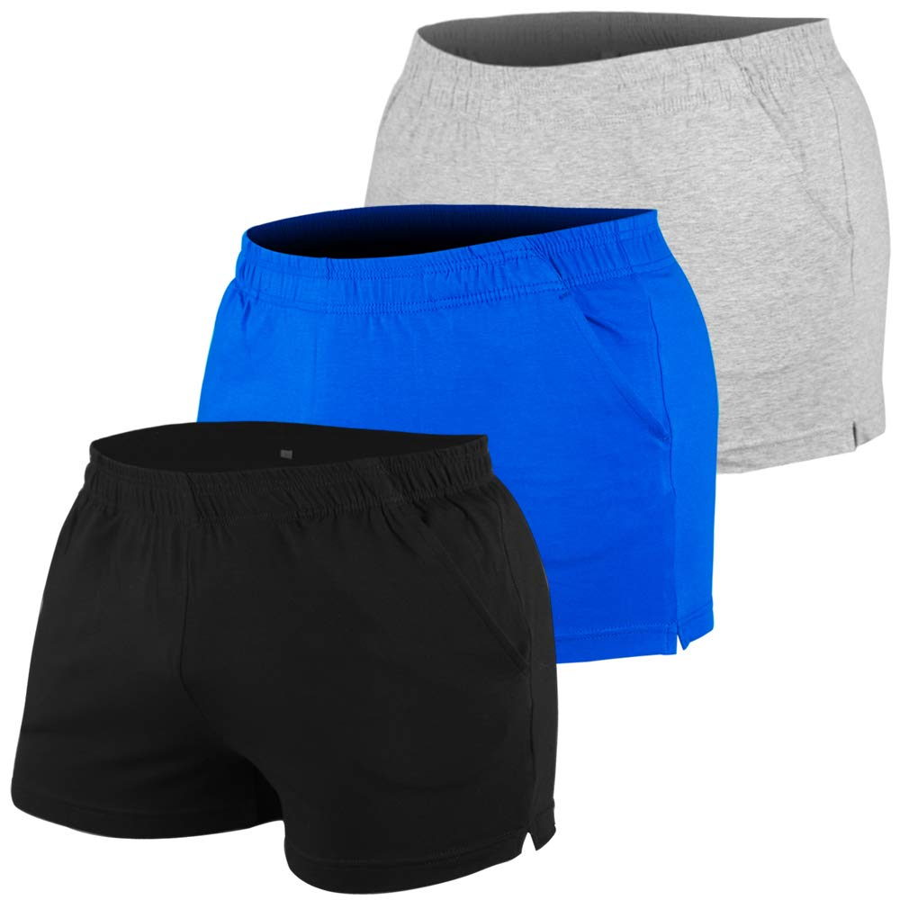 MUSCLE ALIVE Mens Bodybuilding Shorts 3'' Inseam Thin 95% Terry Cotton 5% Spandex with Pockets Black Blue Gray Color Size 2XL by MUSCLE ALIVE