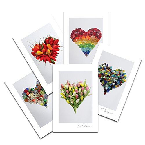 Love - Sea Glass Hearts Postcard Prints. Variety Pack Number Three. 2 Each of 5. 4x6 Best for Birthday Cards, Thank You Notes & Invitations. Unique Christmas & Valentine's Day Gifts
