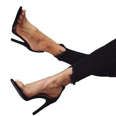 Yying Femme Talons Hauts Sandales Chaussures Open Toe Stileto Transparent  Sandales, Cheville Boucle Strappy Sandales 21d771b10d2b