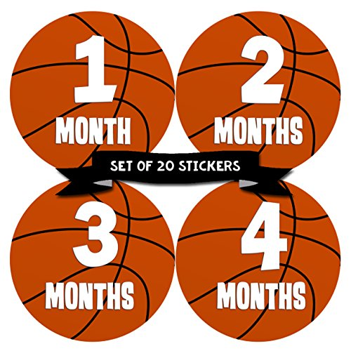 Baby Monthly Milestone Stickers - First Year Set of Baby Boy Month Stickers for Photo Keepsakes - Shower Gift - Set of 20 - Basketball -