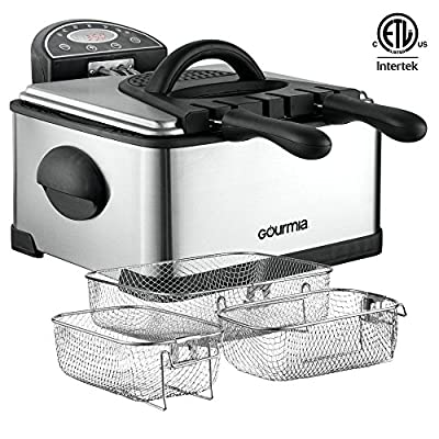 Gourmia Compact Electric Deep Fryer - 3 Baskets - Dual Thermostat & Timer Dials - Stainless Steel