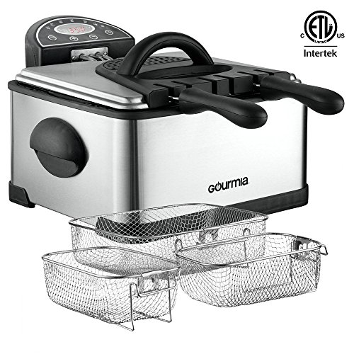 Gourmia GDF500 Compact Electric Deep Fryer, 3 Baskets with Digital Timer & Thermostat, Stainless Steel, 4.2 quart/18 Cups of Oil/4 lbs of Food, 1700W, Silver, E-Recipe Book Included,110V