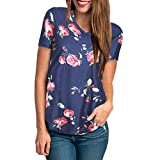 KESEELY Womens Floral Print Blouse Short Sleeve V Neck Simple...