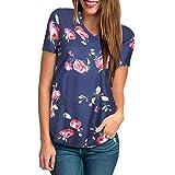 KESEELY Womens Floral Print Blouse Short Sleeve V Neck Simple...