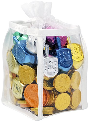 Hanukkah Gift Set Of Dreidels and Chocolate Gelt Coins for Chanukah In Adorable Dreidel Shaped Keepsake (Gelt Coins)