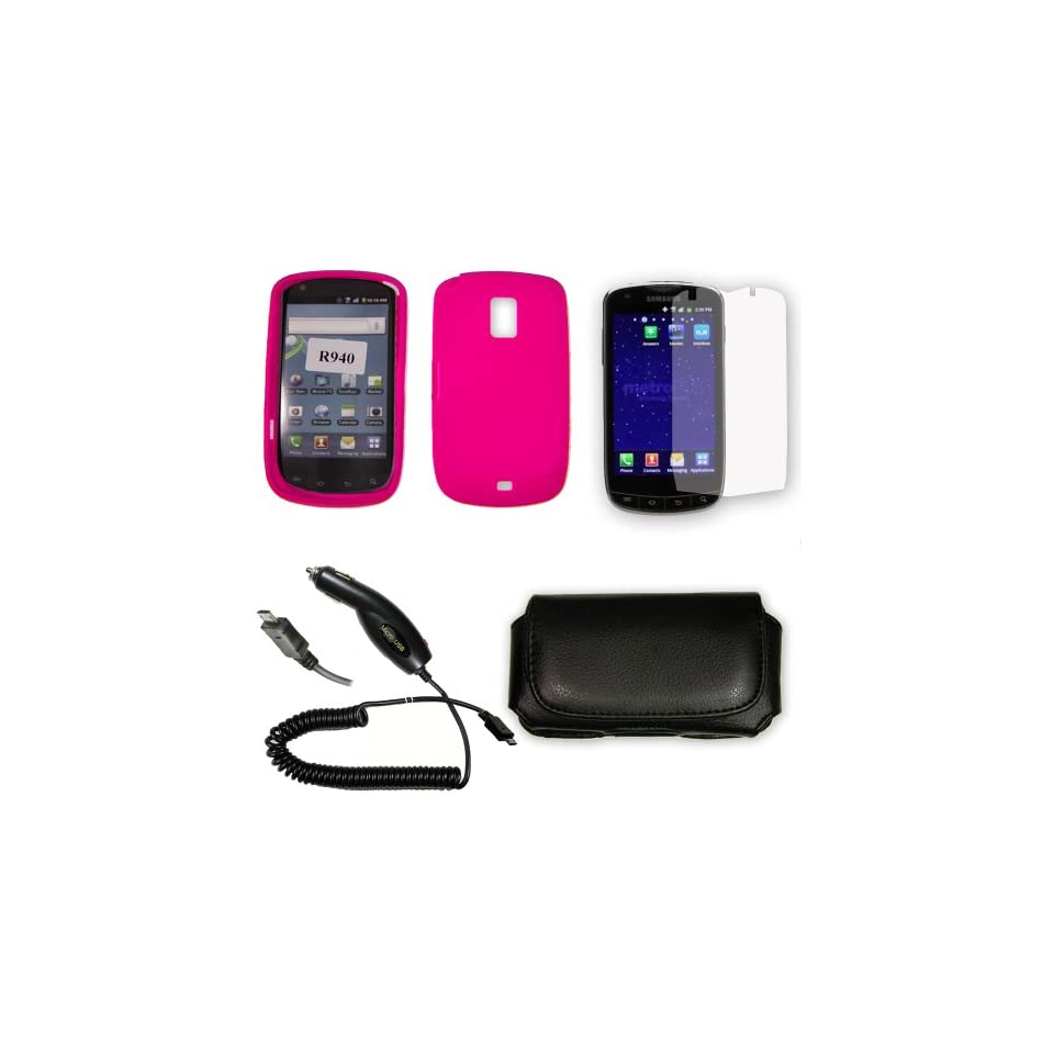 (5 Pack Combo) SAR940.SKHP.10R2.10.P45.73 Samsung Lightray 4G R940 Hot Pink Silicone Skin Case / Rubber Soft Sleeve Protector Cover + 2X Clear Screen Protector Shield + Plug in Car Charger + Horizontal Premium Pouch + Live My Life Wristband Electronics