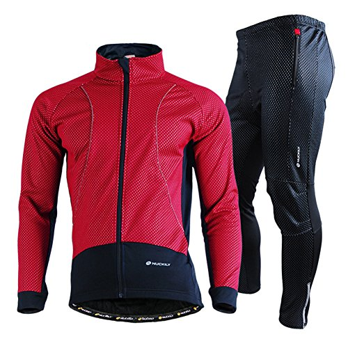 EDTara Sports Suit for Men Winter Riding Cycling Jersey Bib Long Pants + Long Sleeve Waterproof Coat Jacket Jersey Long Sleeve Bib