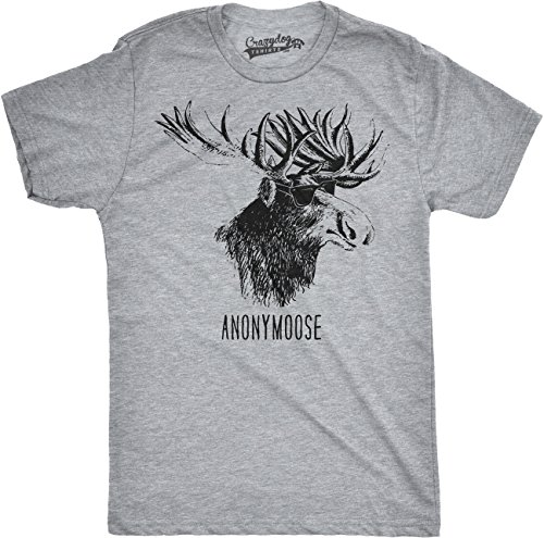 Crazy Dog T-Shirts Mens Anonymoose Funny Moose in Sunglasses Cool Animal T Shirt M Grey