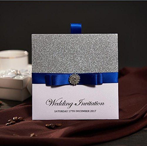 50 Traditional Pocket Wedding Party Invitations With Blue Ribbon & Rhinestone Buckle Custom Wedding Cards Free RSVP & Envelope NK741
