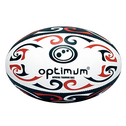 Optimum Tribal Training Rugby Ball (Red/Black,
