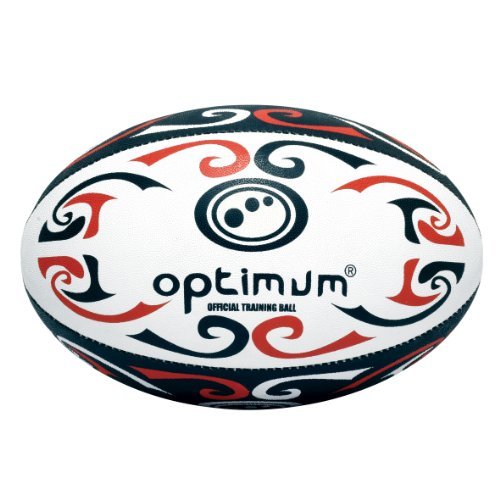Optimum Trainings-Rugbyball Tribal Red/White/Black Size 5