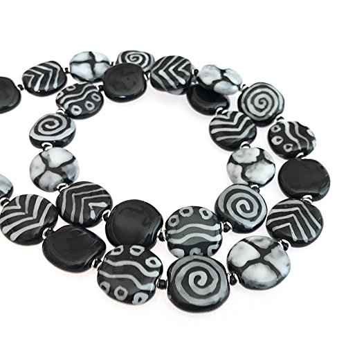 Kenya Handcrafted (Kazuri Handcrafted Strand Necklace 24inch Black and White Ceramic Beads Fair Trade From Kenya)