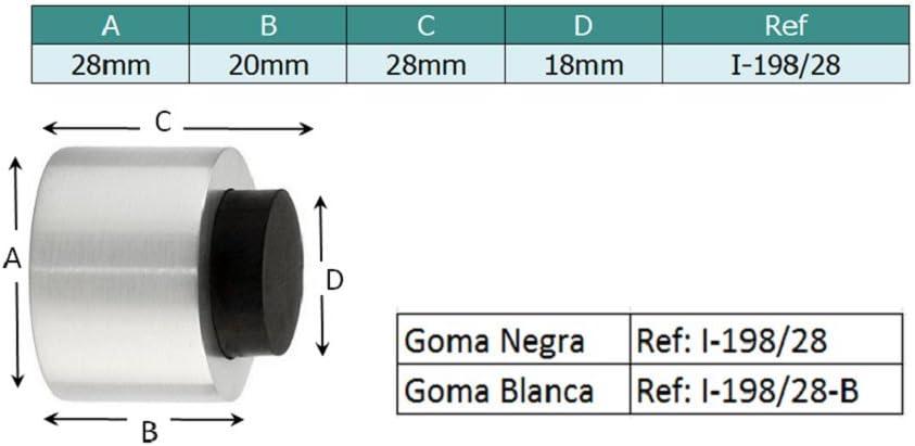 EVI Herrajes I-254//35-AM Fermaporta Acciaio Inossidabile-Gomma Bianca 35x18mm