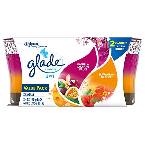 Glade 2in1 Jar Candle Air Freshener, Hawaiian Breeze & Vanilla Passion Fruit, 2 Candles, 6.8 oz - Embrace Natural Wax