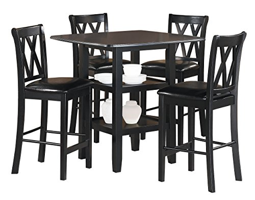 Homelegance Norman 5-Piece Counter Height Dining Set with Two Display Shelves, Black ()