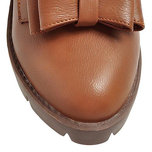 AllhqFashion Womens Round-Toe PU Solid Kitten-Heels Pumps-Shoes Brown 7uSN4i7rWc