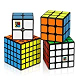 Dreampark Speed Cube Bundle [4 Pack] 2x2x2 3x3x3 4x4x4 5x5x5 Vivid Color Sticker Magic Cube Puzzle Collection - Puzzle Toys for Kids and Adults (Set of 4)