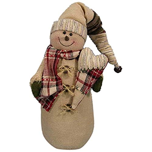 Craft Outlet Fabric Snowman With Heart Figurine 11 Inch