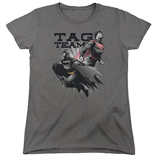 Justice League Gerechtigkeits-Liga - Frauen-Tag-Team-T-Shirt Charcoal UIN5kt8d