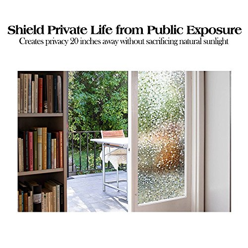 """RABBITGOO No Glue Privacy Window Film Decorative Window Film Static Cling Window Film Circles Pattern Glass Film for Home Kitchen Office Bedroom Living Room 17.5"""" x 78.7'' by RABBITGOO (Image #3)'"""