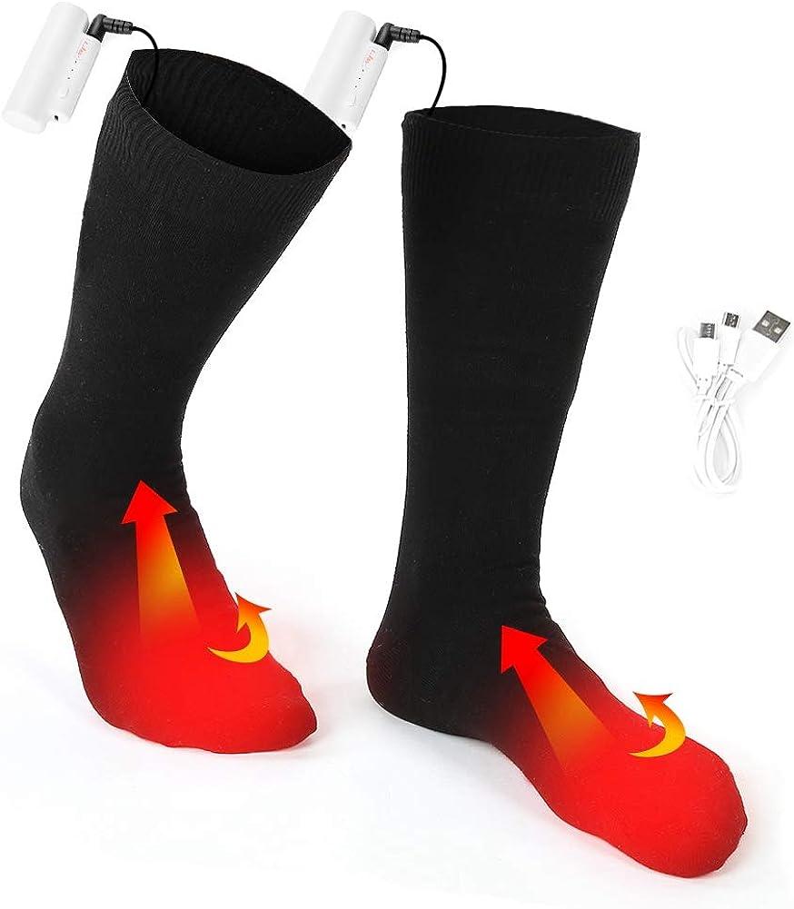 Calcetines térmicos eléctrico 3 Temperaturas Ajustables batería Interior al Aire Libre Invierno Utilizado para Acampar Senderismo Caminar Calentador de pies