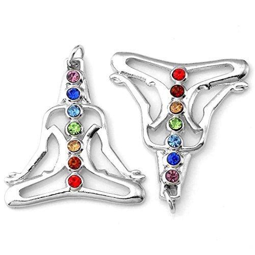 JOVIVI 7 Chakras Cut Glass Pendant Crystal Reiki Healing Balancing - Yoga Therapy Style