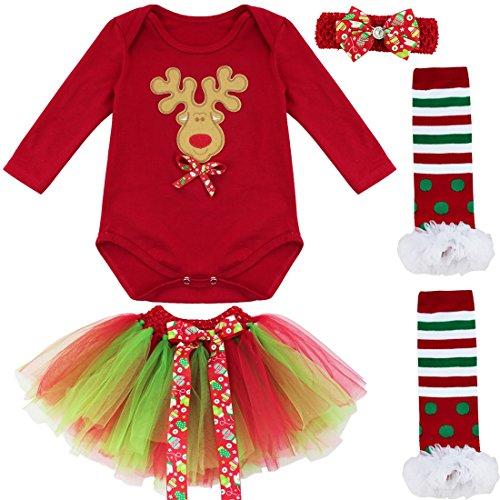 TIAOBU Baby Girls Christmas Santa Romper Tutu Skirt Headband Leg Warmers Outfits 0-3 Months Xmas Reindeer