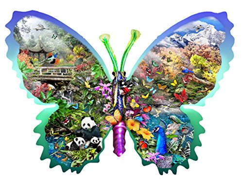 Misty Mountain Butterfly Shaped Jigsaw Puzzle