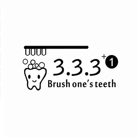 YSFU Pegatinas de pared Lindo Cepillo De Dibujos Animados Dientes Vinilo Pegatinas De Pared Baño Aseo