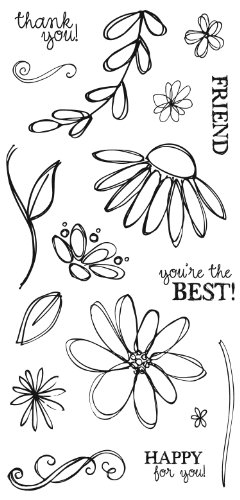 Fiskars 4x8 Inch Petals from Scratch Clear Stamps