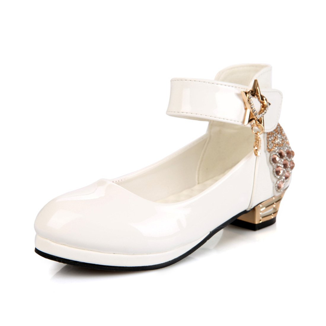YIBLBOX Girls Kids Toddler Dress up Cosplay Princess Wedding Dance Shoes Ankle Strap Mary Jane Low Heel Shoes by YIBLBOX