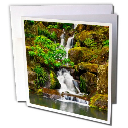 3dRose Heavenly Falls Portland Japanese Garden Oregon Us Greeting Cards, 6
