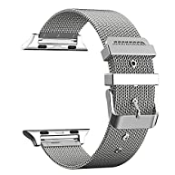 For Apple Watch Band 42mm, AGUARA Milanese Loop Stainless Steel Replacement iWatch Band Classic Buckle for Apple Watch Series 2, Series 1, Sport, Edition - 42mm Silver