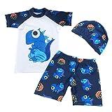 Happy Cherry Boys Swimsuit Set 3-Piece Dinosaur Sun Protection Rash Guard Set