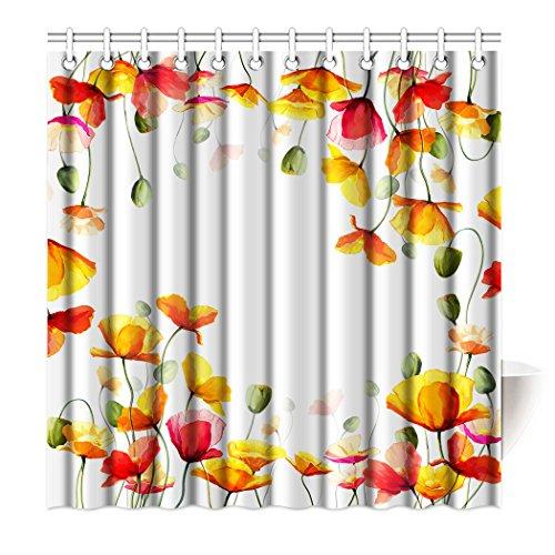 80OFF SXCHEN Shower Curtain Yellow Poppies Beautiful Flowers Waterproof Polyester Bath 48