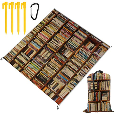 Rachel Dora Bookshelves Picnic Blanket Foldable Waterproof Set with Drawstring Bags Custom Portable Mat for Outdoor Camping Hiking Travelling Festival Beach BBQ 67 x 57 -